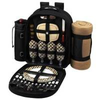 London Picnic Backpack with Blanket for Four