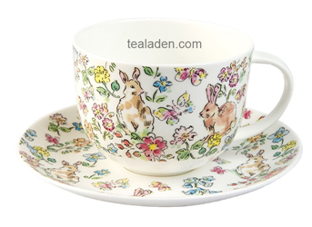 Morning Meadow Rabbit Breakfast Cup and Saucer