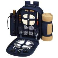 Navy Picnic Backpack with Blanket for Two