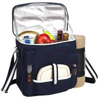 Navy Wine and Cheese Cooler with Blanket