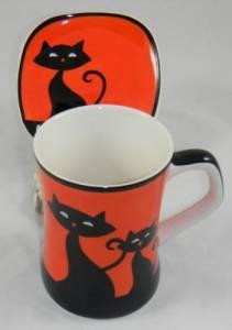 Orange Cat Mug and Coaster
