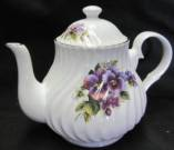 Pansy Swirled Six Cup Teapot