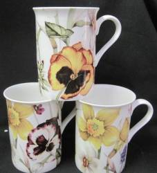 Three Pansy Collection Mugs