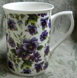Four Pansy White Chintz Mugs