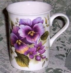 Four Pansy Wrap Mugs