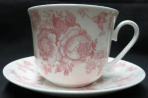 Pink Victorian breakfast cup and saucer