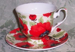 Poppy Chintz Cup and Saucer
