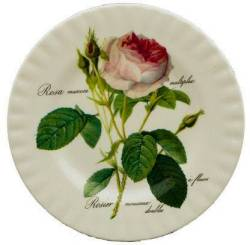Two Redoute Rose Dessert Plates
