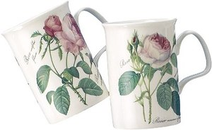 Four Redoute Rose Mugs
