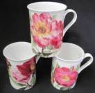Three Roses in Pink Mugs