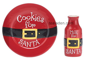 Belted Santa Cookie Plate and Milk Bottle