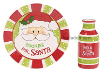 Cookies for Santa Plate and Milk Bottle