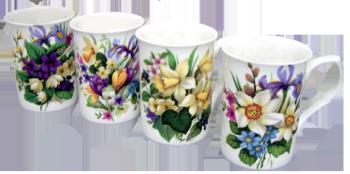 Four Spring Garden Mugs