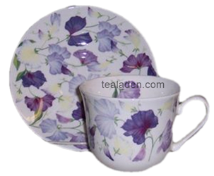 Sweet Pea Lilac Breakfast Cup and Saucer