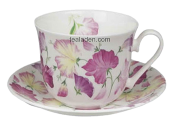 Sweet Pea Pink Breakfast Cup and Saucer