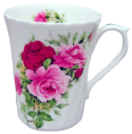 Three Summertime Rose Swirl Mugs