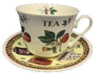 New Tea Motif Breakfast Cup and Saucer