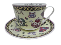 Tea Motif Breakfast Cup and Saucer