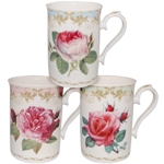 Vintage Rose Mugs Set of Three