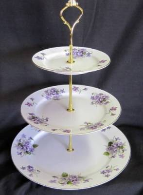 Wild Violets Three Tier Tray